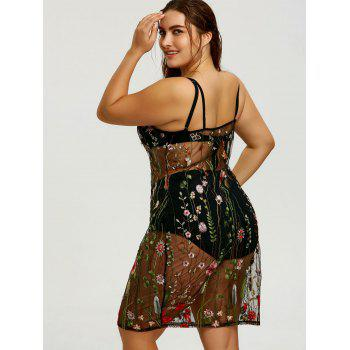 Plus Size Sheer Embroidered Slip Cover-up Dress - COLORMIX 3XL