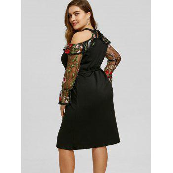 Plus Size Embroidery Mesh Panel Bodycon Dress - BLACK 2XL