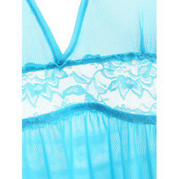 Mesh See Thru Backless Babydoll - BLUE L