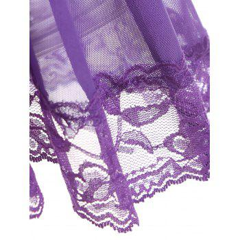 Mesh See Thru Backless Babydoll - PURPLE L