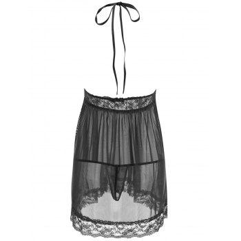 Mesh See Thru Backless Babydoll - BLACK L