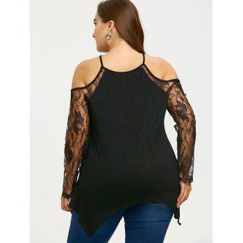 Plus Size Sheer Cold Shoulder Top - BLACK 2XL