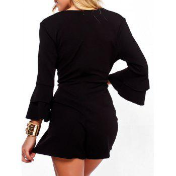 Flare Sleeve Surplice Neck Romper - BLACK M
