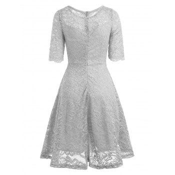 Fit and Flare Lace Vintage Dress - GRAY M