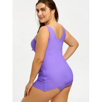 Paded Plus Size Tankini Swimdress - PURPLE 4XL