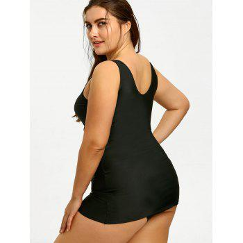 Paded Plus Size Tankini Swimdress - BLACK 3XL