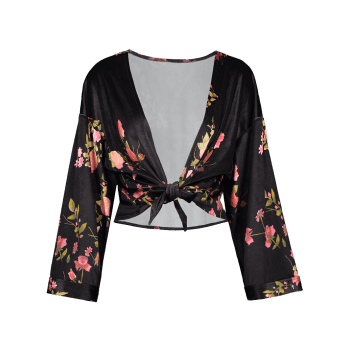 Velvet Floral Plus Size Wrap Top - BLACK 4XL