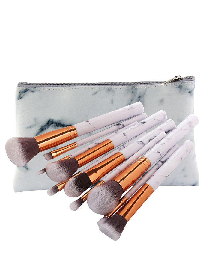 Image of 10Pcs Professional Fiber Hair Makeup Brush Set with Bag