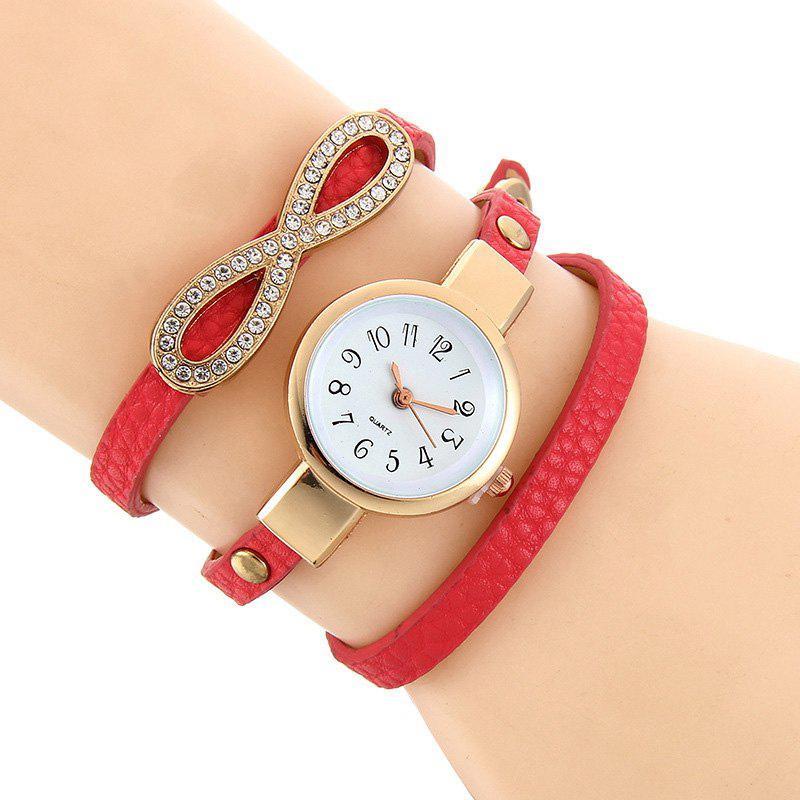 Montre à bracelet en similicuir Infinite Wrap - Rouge