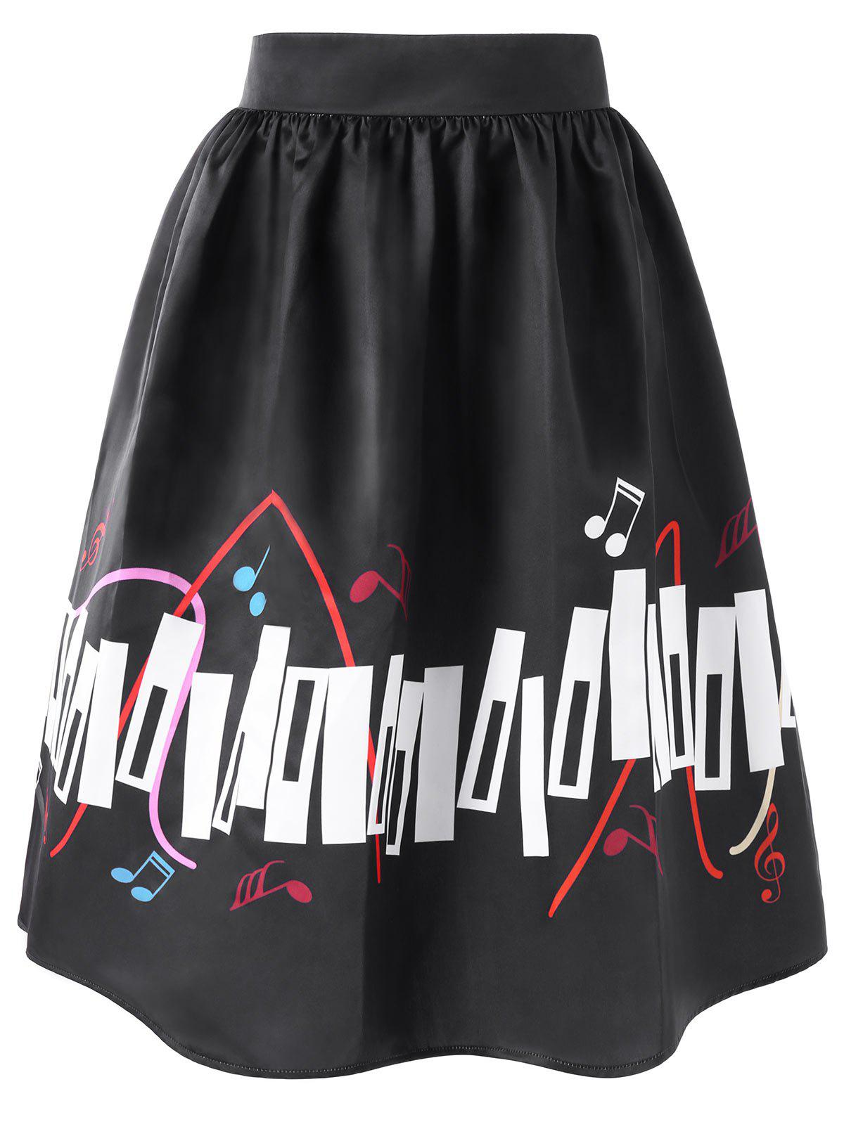 High Waisted Music Notes Print Plus Size Skirt - BLACK XL