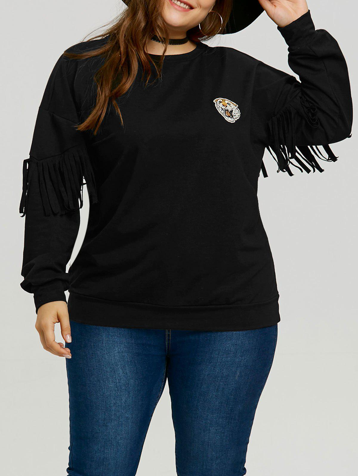 Plus Size Tiger Patch Fringe Sleeve Sweatshirt - BLACK 2XL