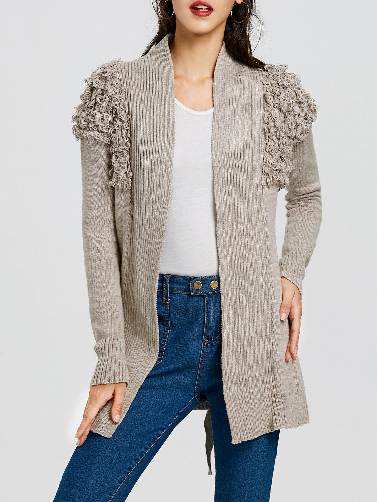Collarless Ribbed Wrap Cardigan - LIGHT GRAY ONE SIZE