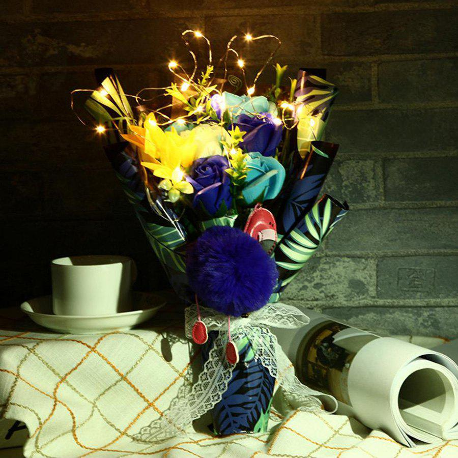 Handmade Soap Artificial Flower Bouquet LED Light Flamingo - BLUE 38*20*12CM
