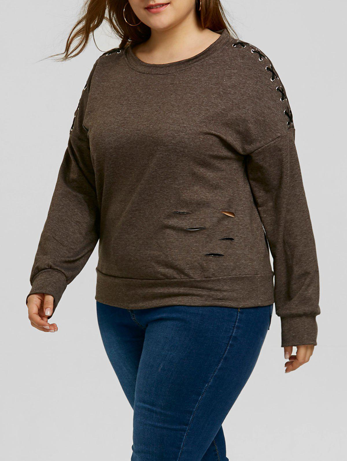 Plus Size Lace-up Sleeve Ripped Sweatshirt - DARK HEATHER GRAY 5XL