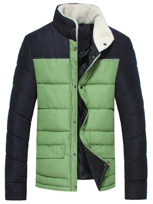 Stand Collar Flap Pocket Two Tone Puffer Jacket - GRASS GREEN L