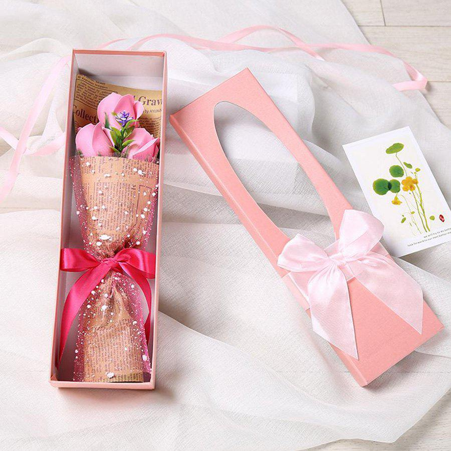 3 Scented Soap Roses Flower Bouquet Gift Box Valentine's Present - PINK 34*10*6.5CM