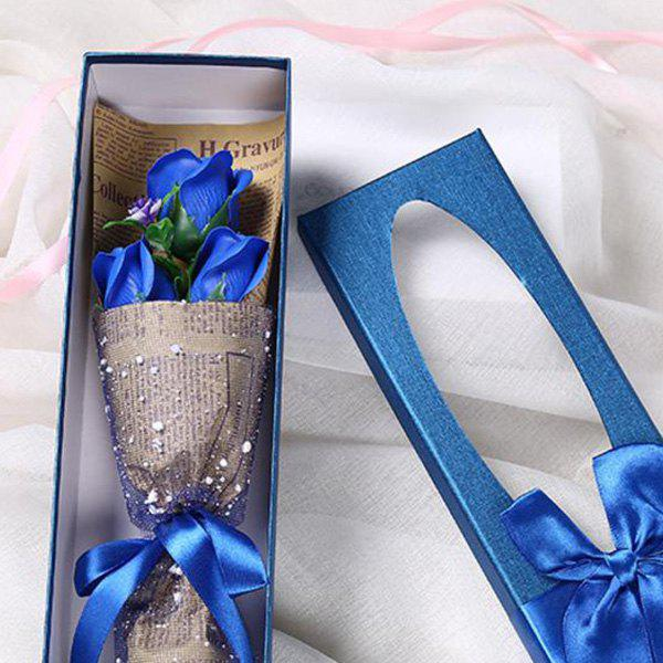 3 Scented Soap Roses Flower Bouquet Gift Box Valentine's Present - BLUE 34*10*6.5CM