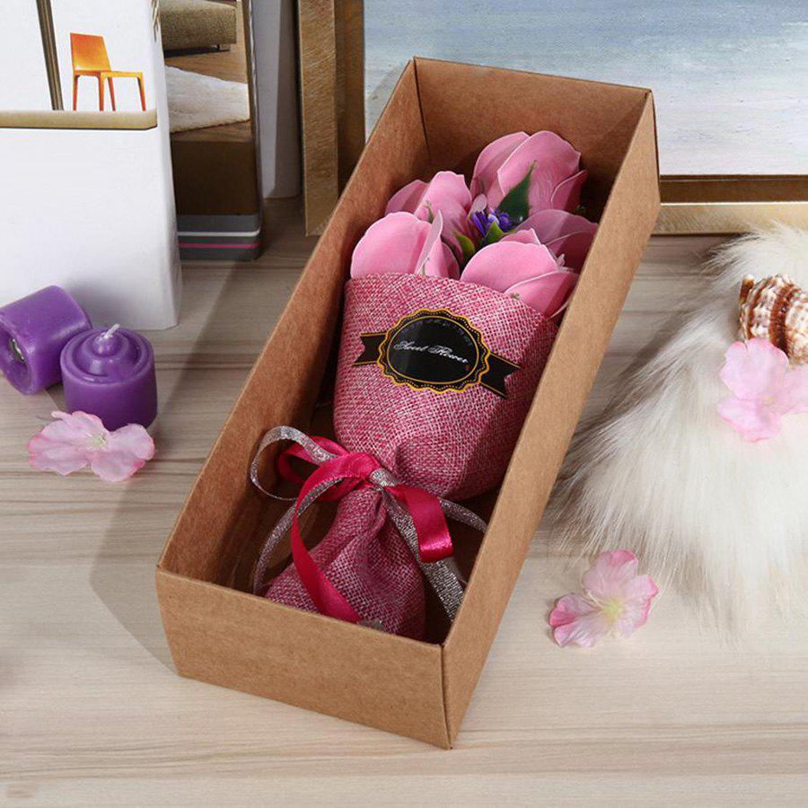 5 Pieces Roses Artificial Flower Bouquet Valentine Day Handmade Soap - PINK 26*10*6CM