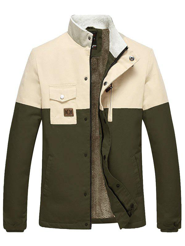 Zipper Up Two Tone Flocking Thermal Jacket - ARMY GREEN M