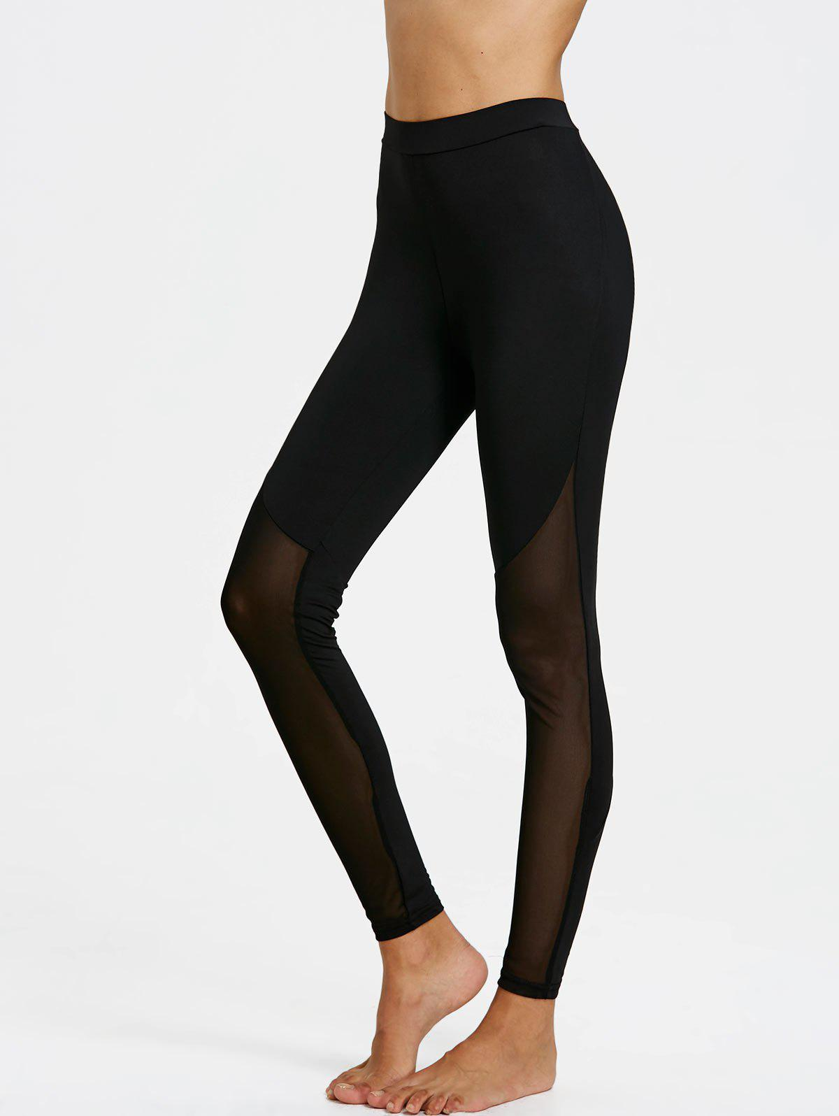 Sheer Mesh Insert Leggings - BLACK M