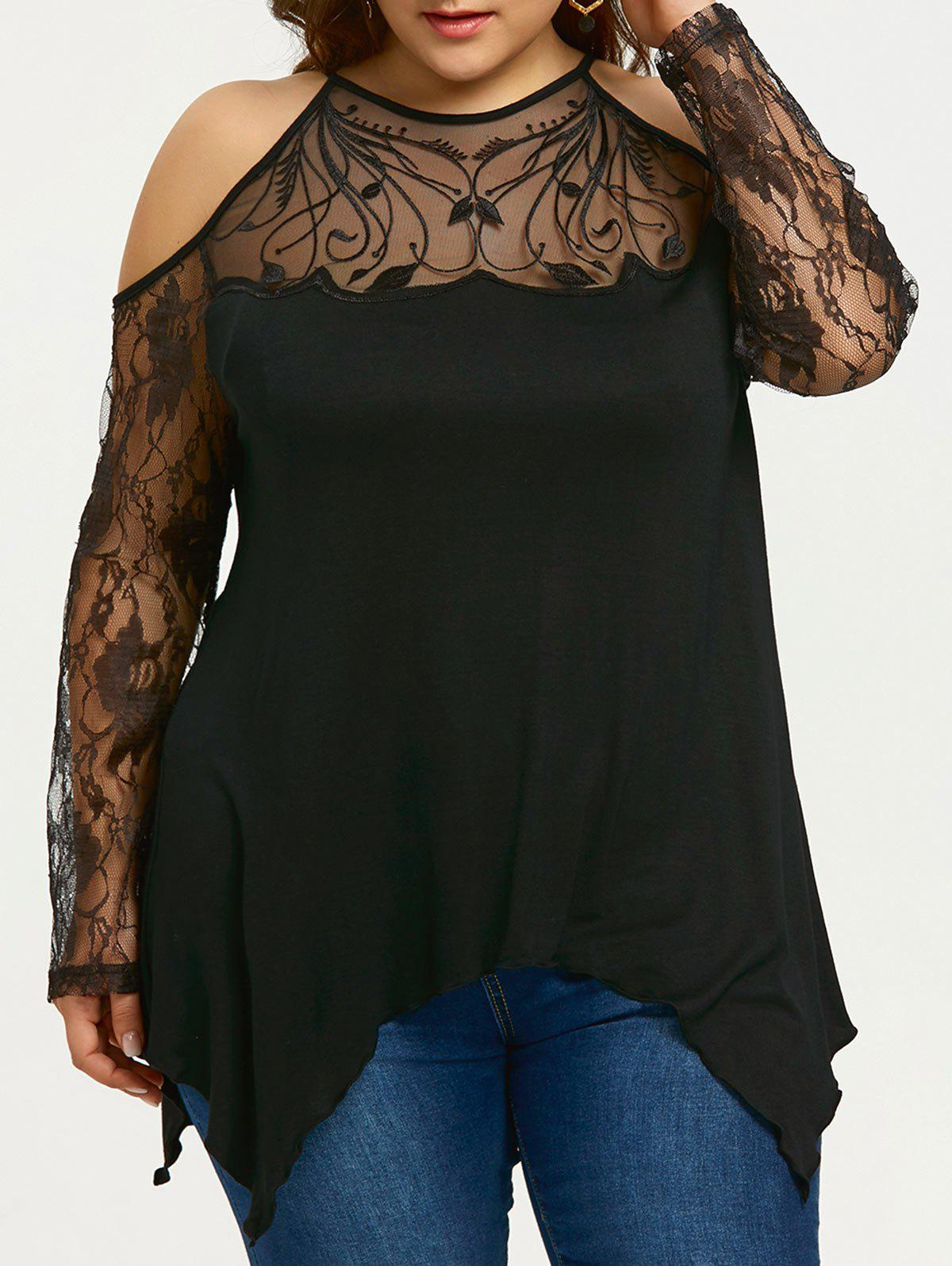 Plus Size Sheer Cold Shoulder Top - BLACK XL