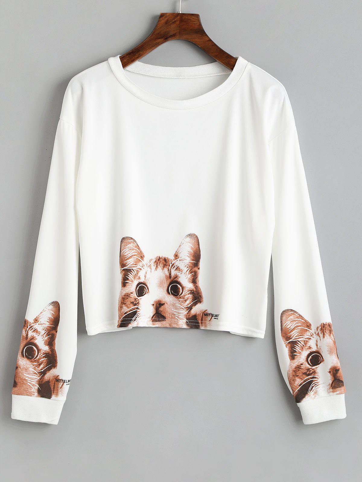 Long Sleeve Cute Cat Print Crop T-shirt - WHITE L