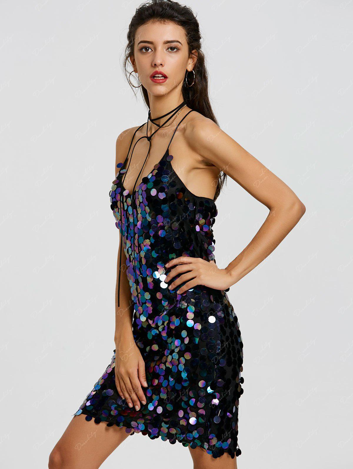 Backless Sequined Mini Bodycon Dress - BLACK M