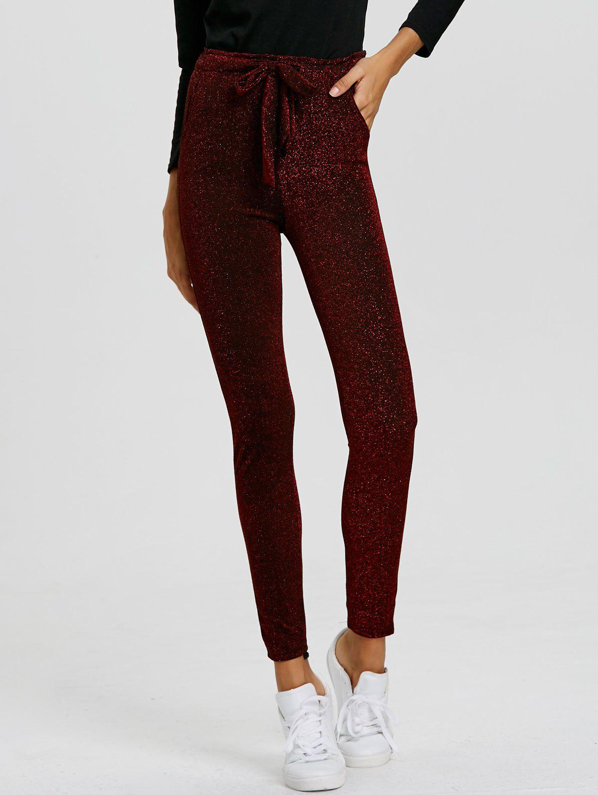 Drawstring Sparkly Skinny Pants - WINE RED S