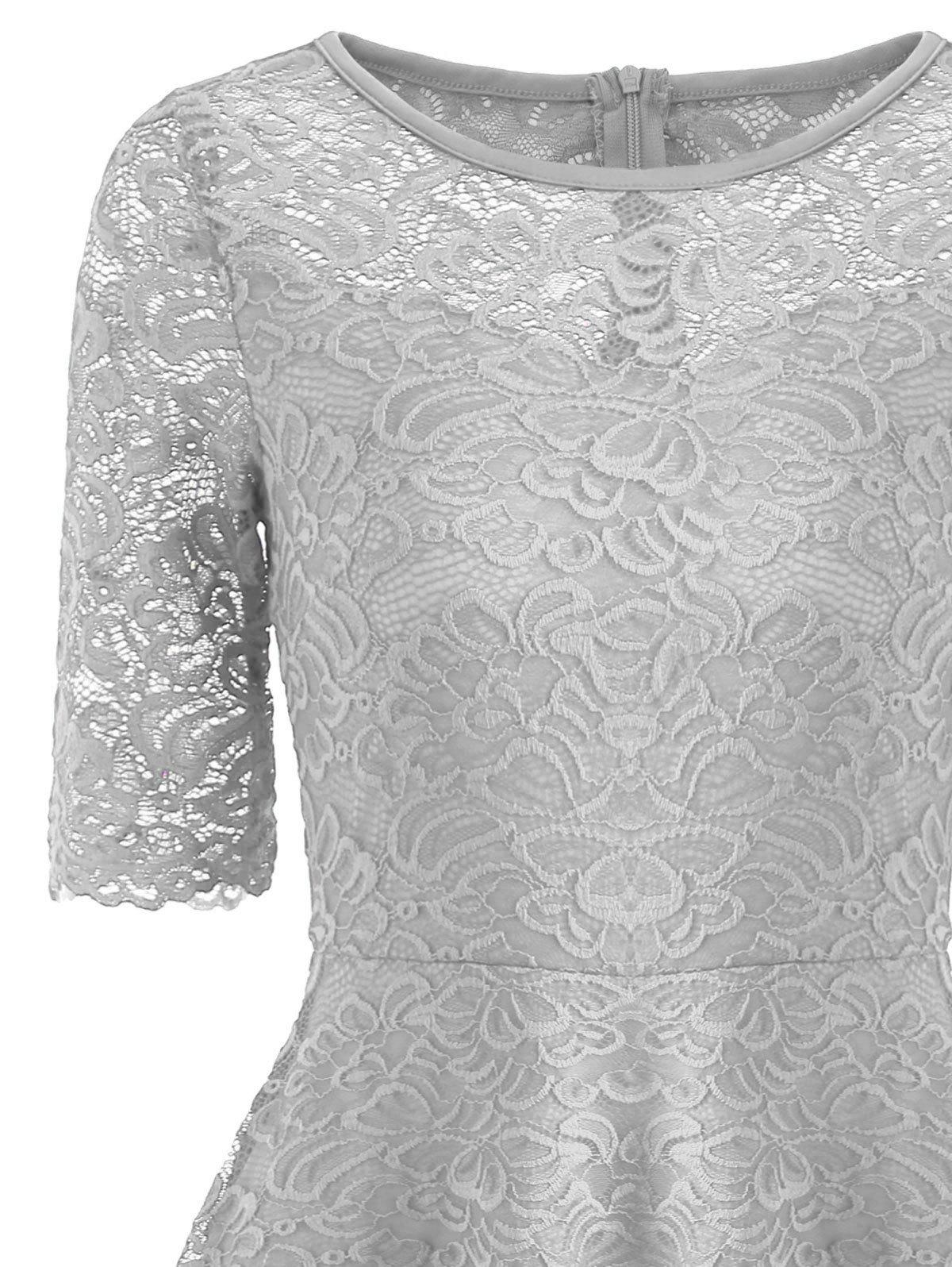 Fit and Flare Lace Vintage Dress - GRAY 2XL