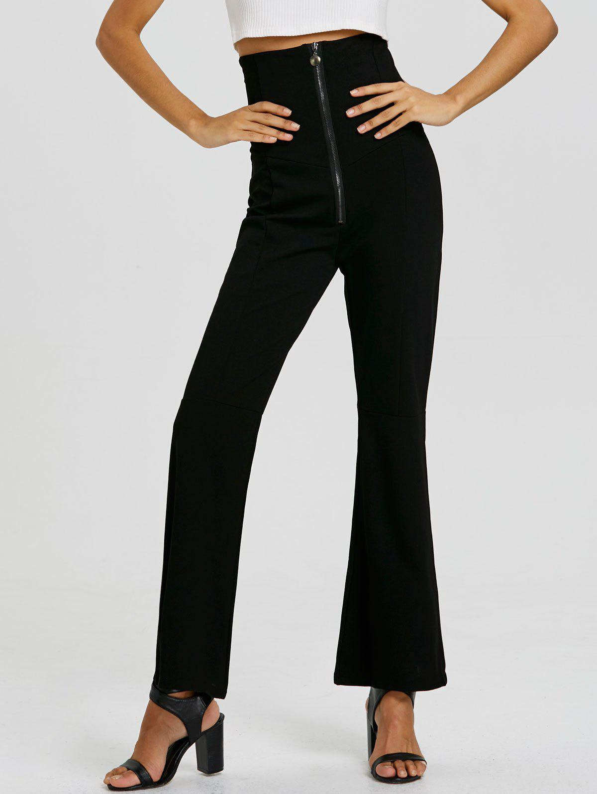 Zip Up Corset Boot Cut Flare Pants - BLACK L