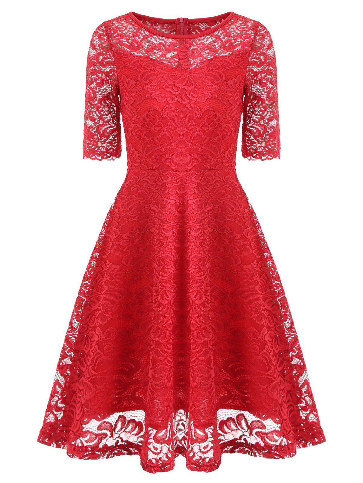 Fit and Flare Lace Vintage Dress - RED L