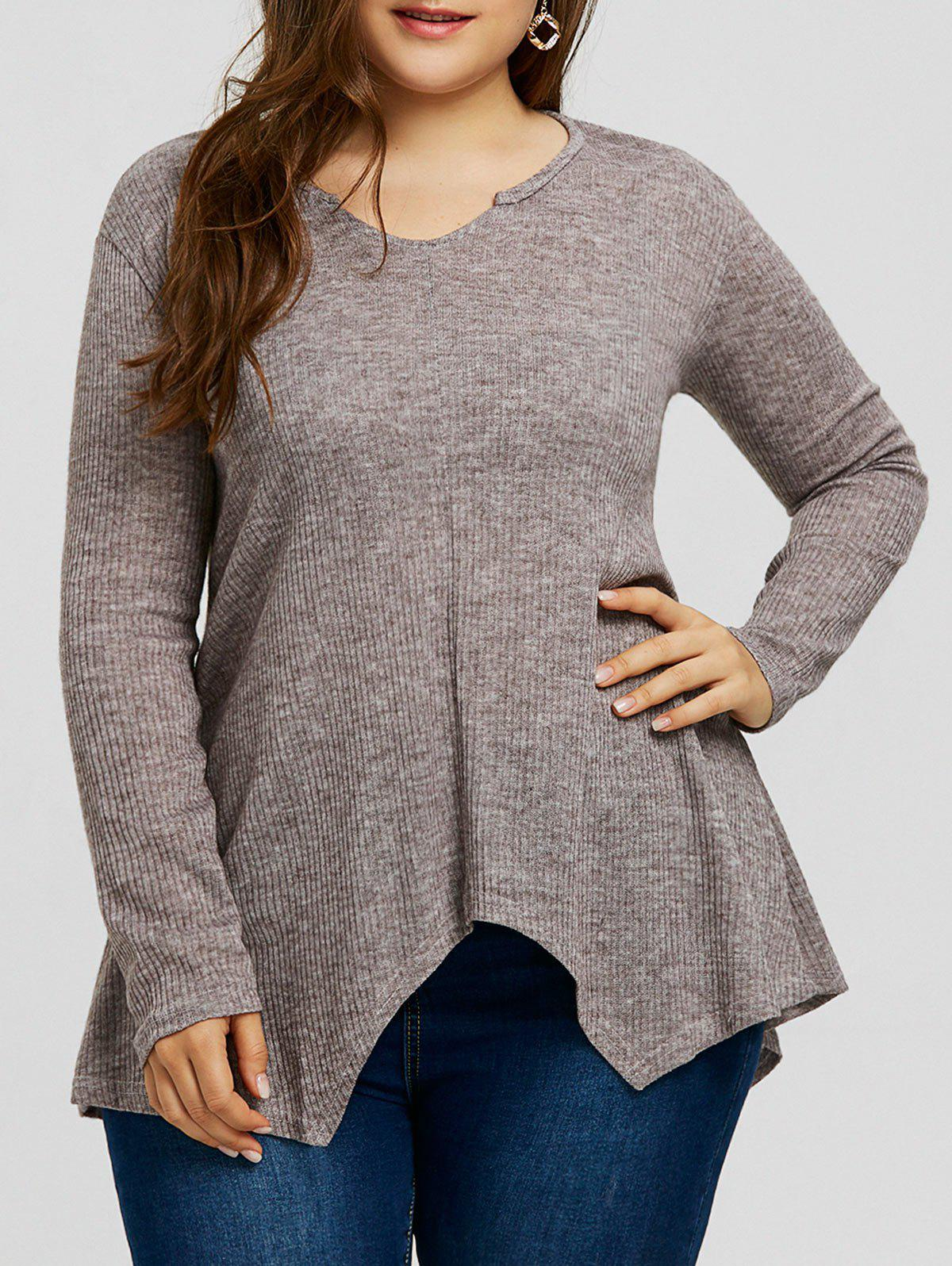 Plus Size Handkerchief Ribbed Sweater - GRAY 3XL