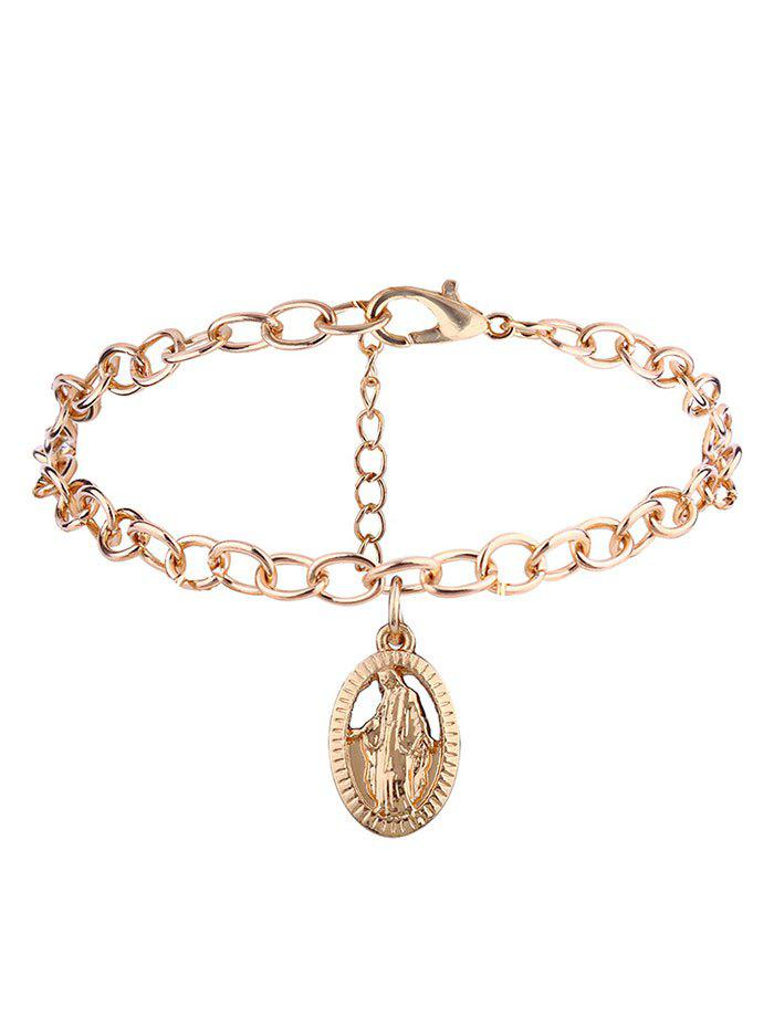 Oval Engraved Jesus Charm Chain Bracelet - GOLDEN