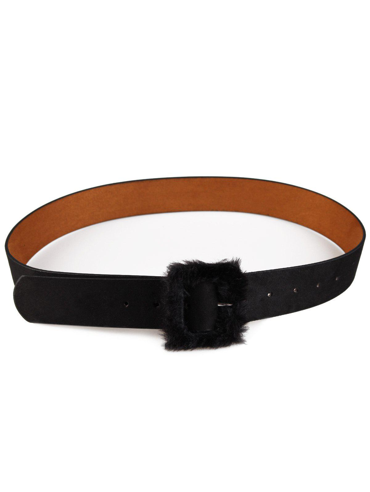 Cute Furry Buckle Decorated Faux Leather Waist Belt - BLACK