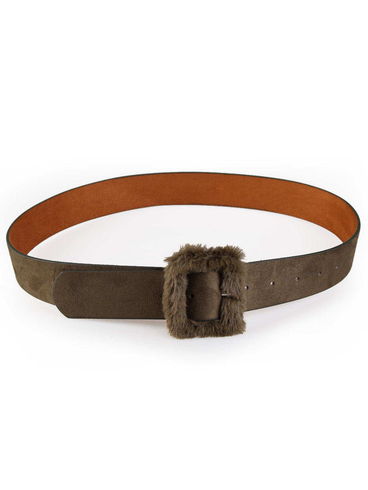 Cute Furry Buckle Decorated Faux Leather Waist Belt - ARMY GREEN