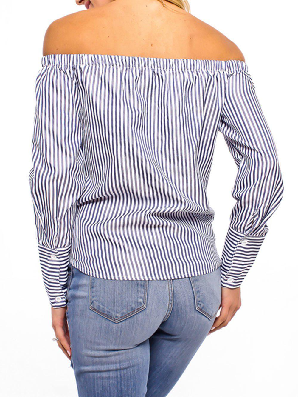 Off The Shoulder Striped Tie Up Blouse - CADETBLUE 2XL