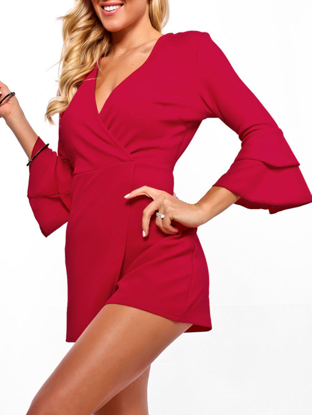 Flare Sleeve Surplice Neck Romper - RED M