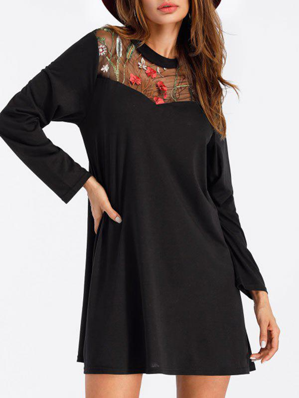 Long Sleeve Embroidered Mini T-shirt Dress - BLACK S