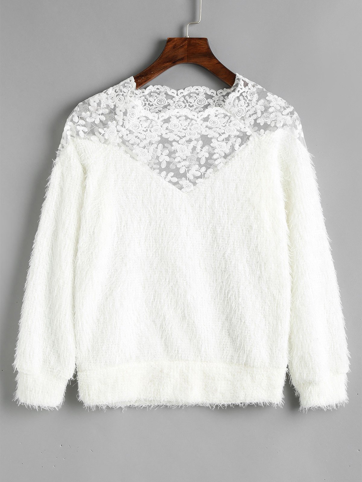Textured Lace Panel Raglan Sleeve Sweatshirt - WHITE ONE SIZE