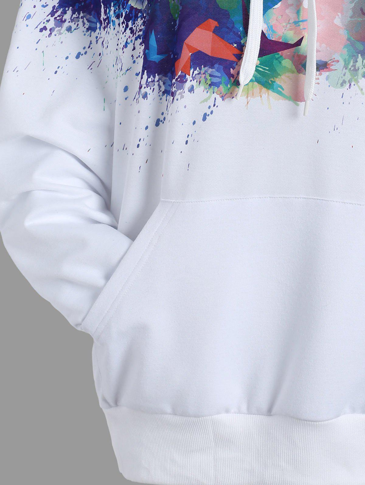 Kangaroo Pocket Ink Painting Hoodie - WHITE S