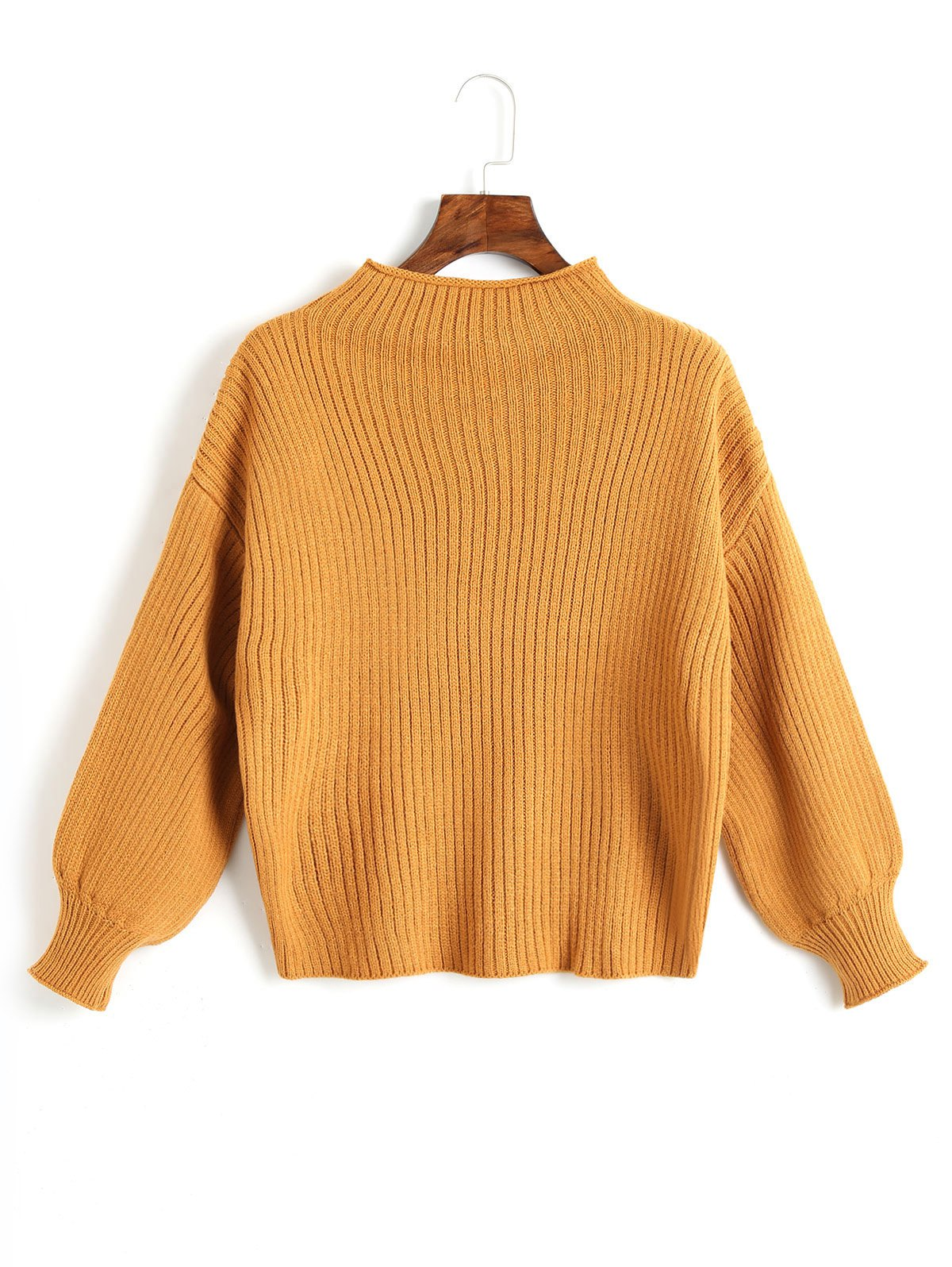 Lantern Sleeve Plain Pullover Sweater - GINGER ONE SIZE
