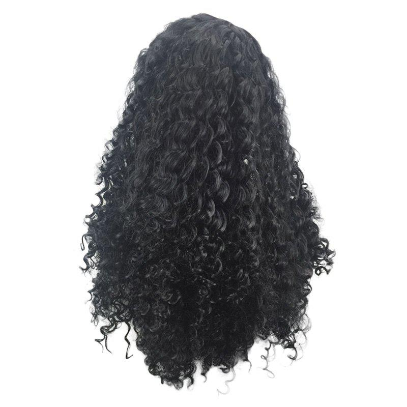 Long Side Parting Synthetic Fluffy Deep Wave Wig - BLACK