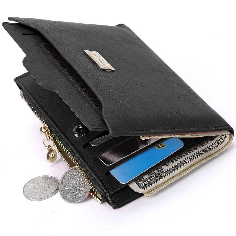 PU Leather Multi Function Bi Fold Wallet - BLACK