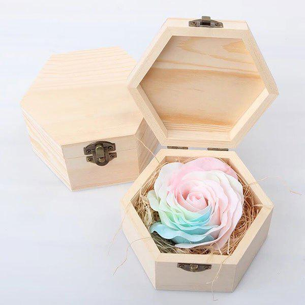 Hand-carved Rose Soap Scented Gift-set In Decorative Wood Case - PINK