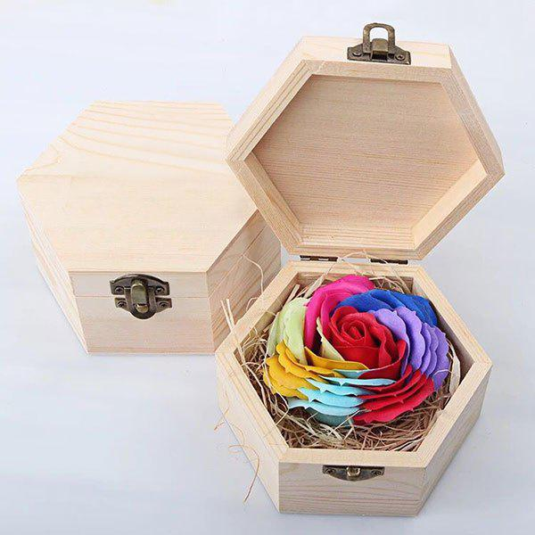 Hand-carved Rose Soap Scented Gift-set In Decorative Wood Case - YELLOW
