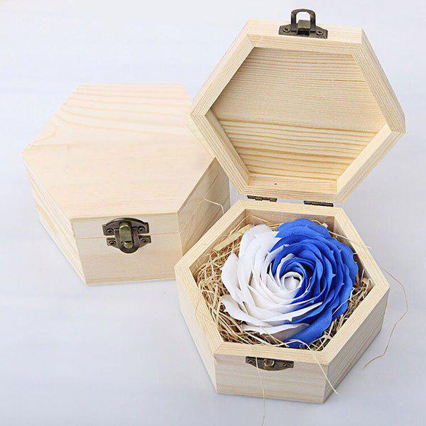 Hand-carved Rose Soap Scented Gift-set In Decorative Wood Case - BLUE