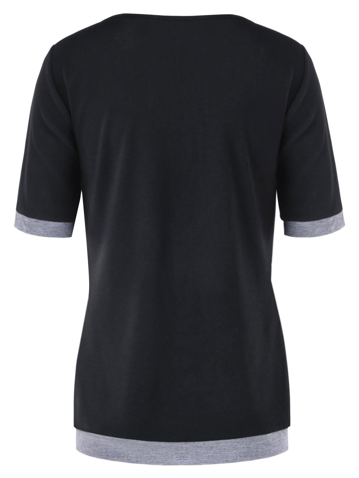 Short Sleeve Panel T-shirt with Button - BLACK L