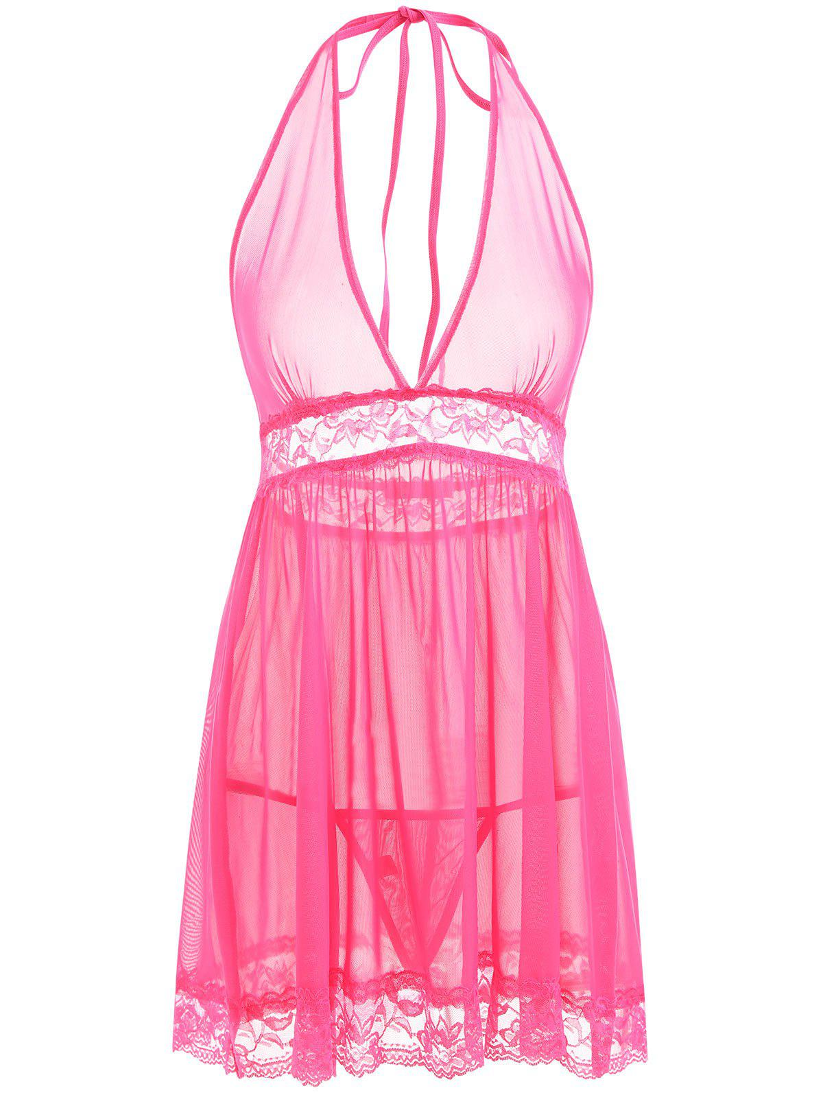 Mesh See Thru Backless Babydoll - TUTTI FRUTTI L
