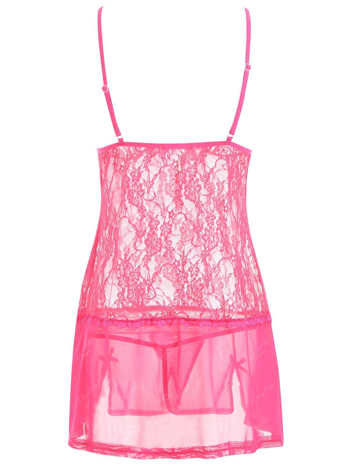 Lace Slip See Thru Lingerie Babydoll - ROSE RED S