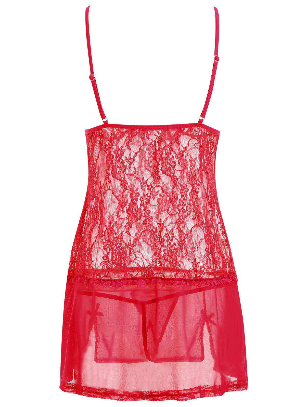 Lace Slip See Thru Lingerie Babydoll - RED XL